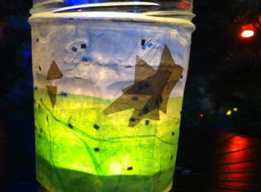 candle jar with papier mache